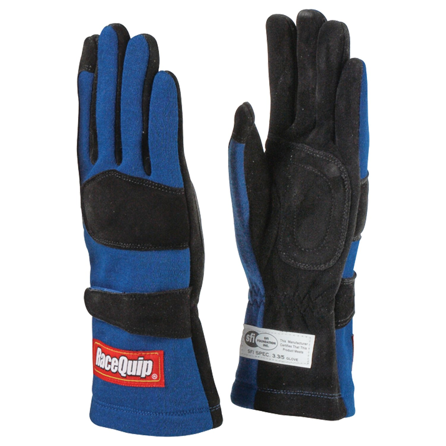 RaceQuip 355025 355 Series Large Blue SFI 3.3/5 Two Layer Racing Gloves