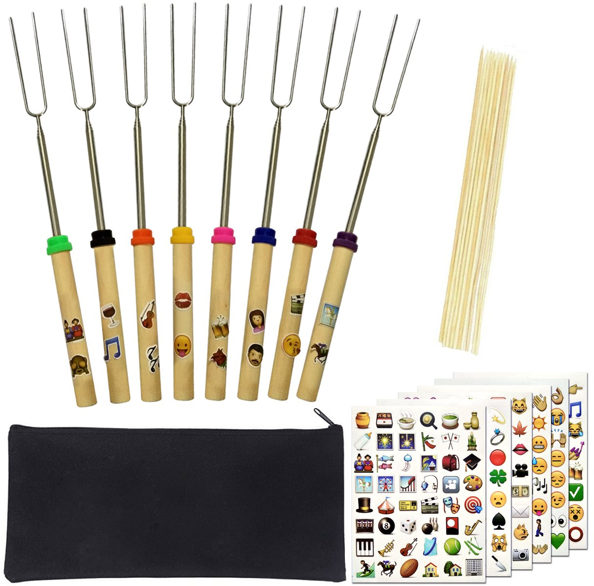 Besokuse Barbecue Skewers Marshmallow Roasting Sticks Wooden Handle extending Meat Hot Dog Fork BBQ Camping Cookware Campfire Grill Cooking Camping Picnic