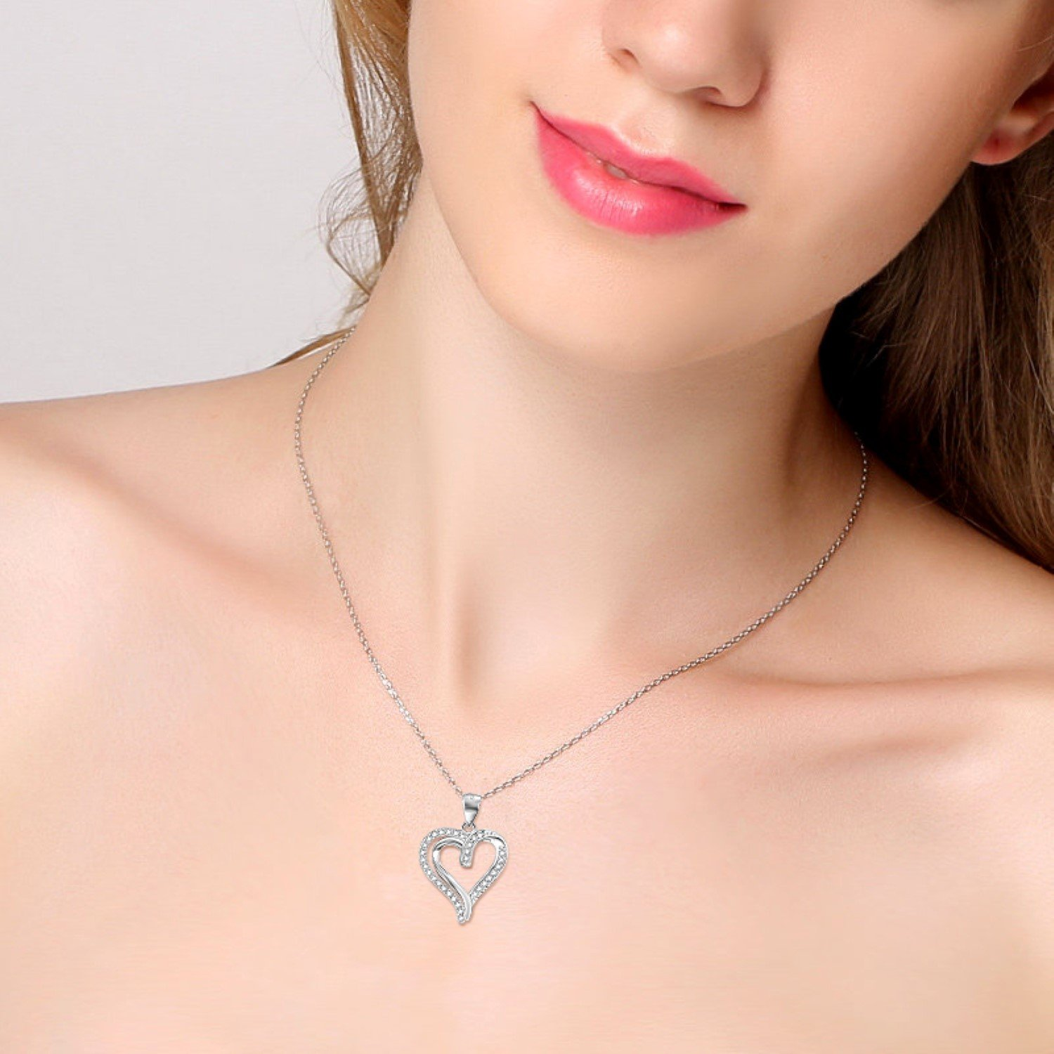 CS-DB Pendants Necklaces Silver Heart Trendy Glaring Jewelry Girls Jewelry
