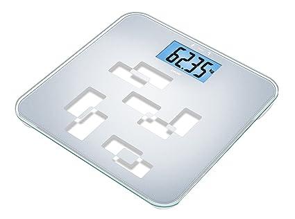 Beurer GS-420 - Báscula de baño de vidrio con función TARA, gran plataforma