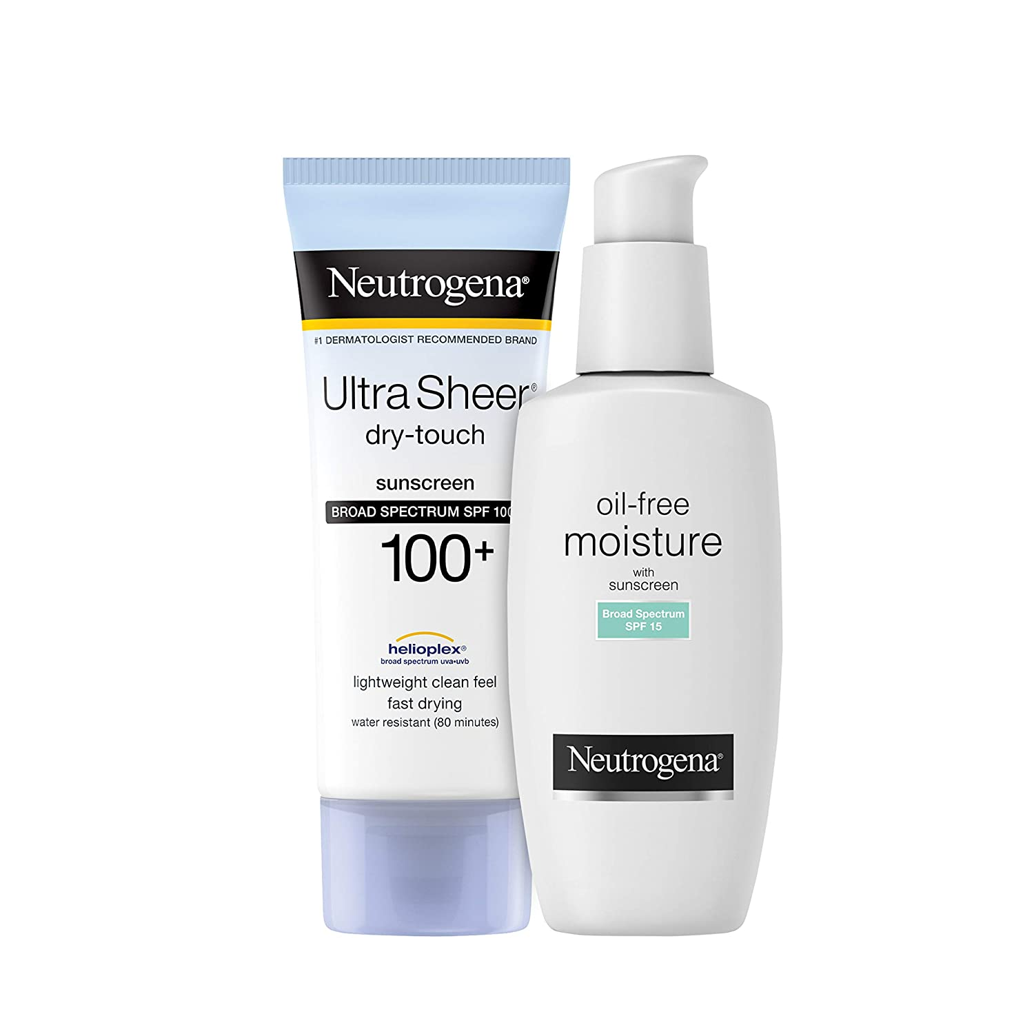 Neutrogena Ultra Sheer Dry-Touch Water Resistant and Non-Greasy Sunscreen Lotion, 100+, 3 fl. Oz With a Oil-Free Daily Long Lasting Facial Moisturizer & Neck Cream, 4 fl. Oz