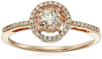 Amazoncom 10K Rose Gold Morganite Round with Diamond Halo Ring