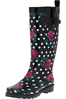 eaad24f71bd46 Capelli New York Ladies Shiny Tall Rubber Rain Boots