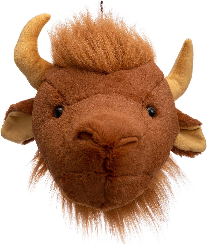 HollyHOME Bull Plush Stuffed Animal Plush Bull Head Wall Mount Hanging Wall Decor for Nursery and Playroom 13 Inch