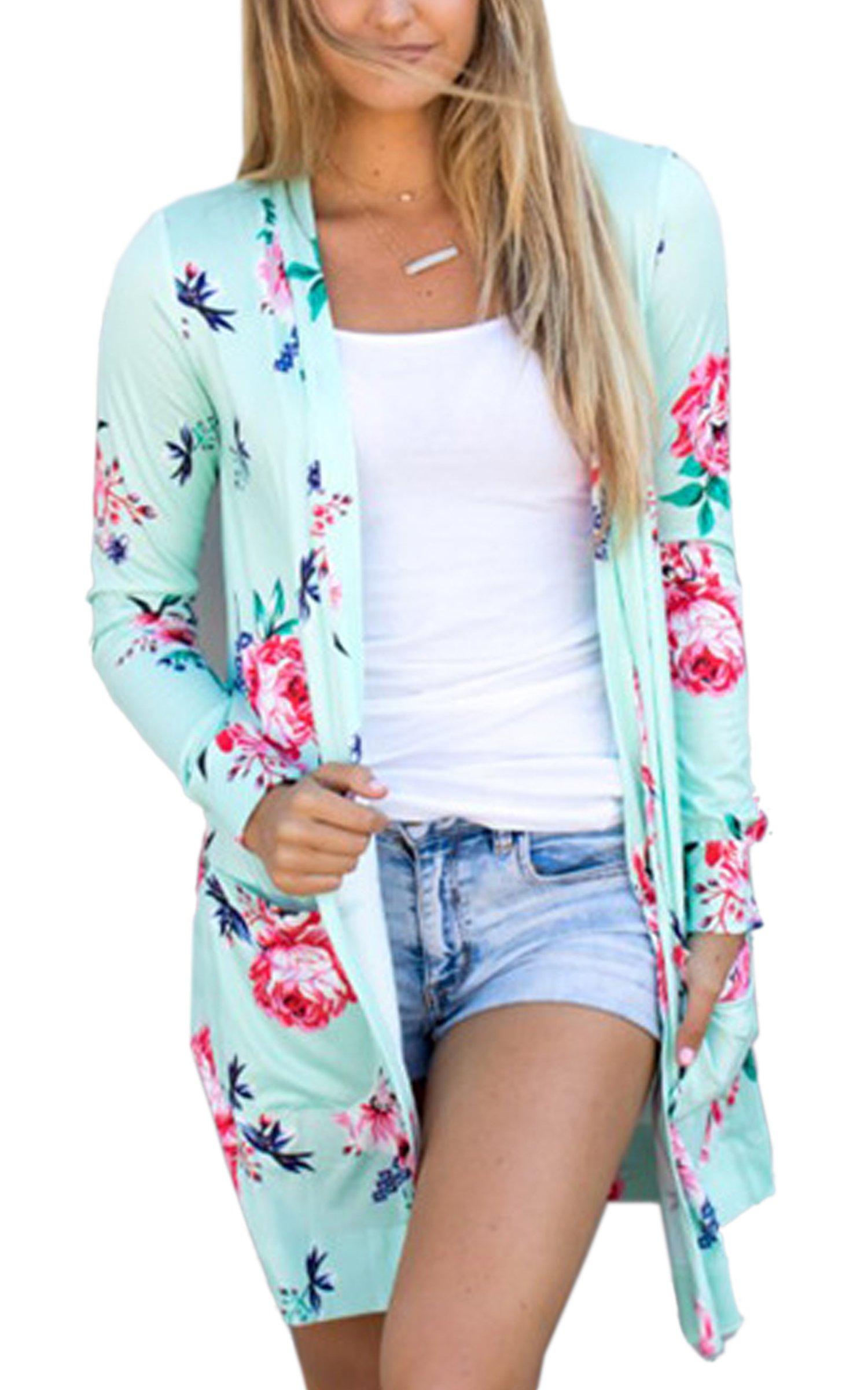 ECOWISH Womens Boho Irregular Long Sleeve Wrap Kimono Cardigans Casual Coverup Coat Tops Outwear Green2 XL