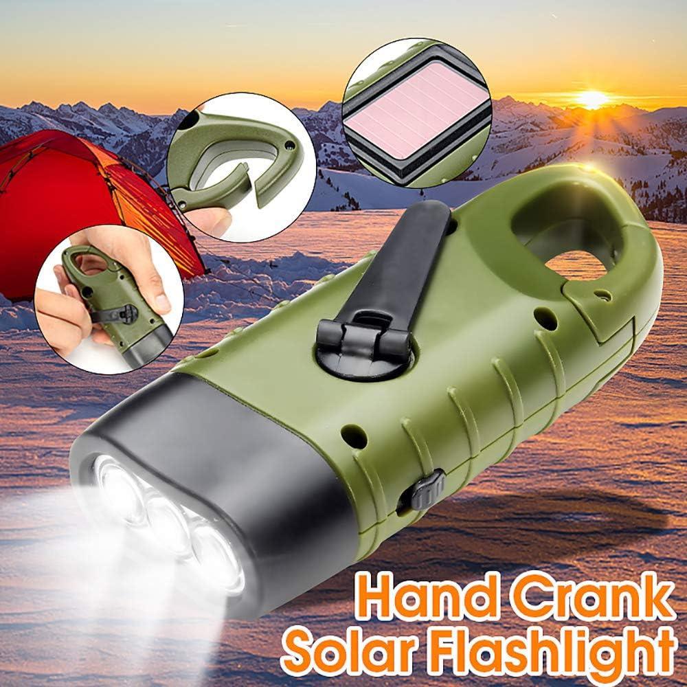 FreeLeben Manivela antorcha el/éctrica de manivela manual linterna de emergencia solar