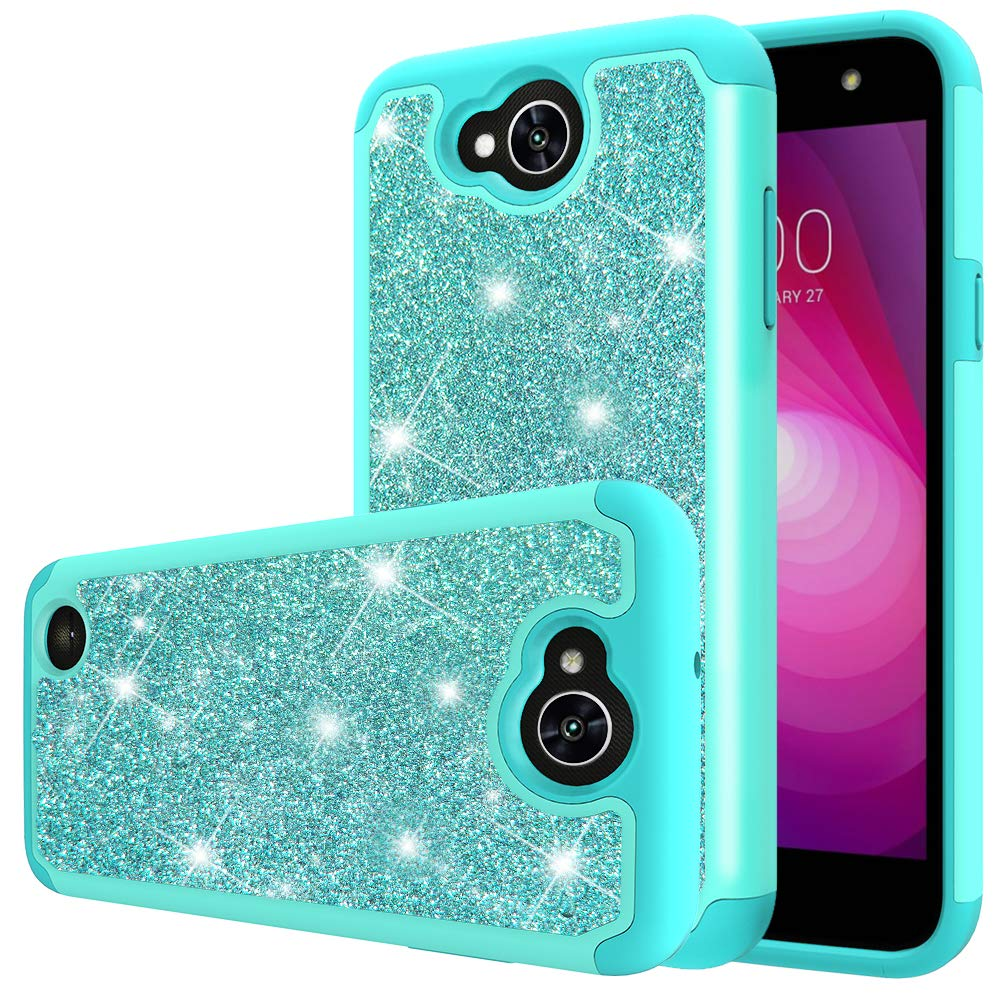 LG Fiesta 2 LTE Phone Case,LG X Charge Case,LG L64VL/M327,Yiakeng Waterproof Glitter Hard Slim for Girls Women Wallet Cases Cover for LG Fiesta 2 LTE (Mint)