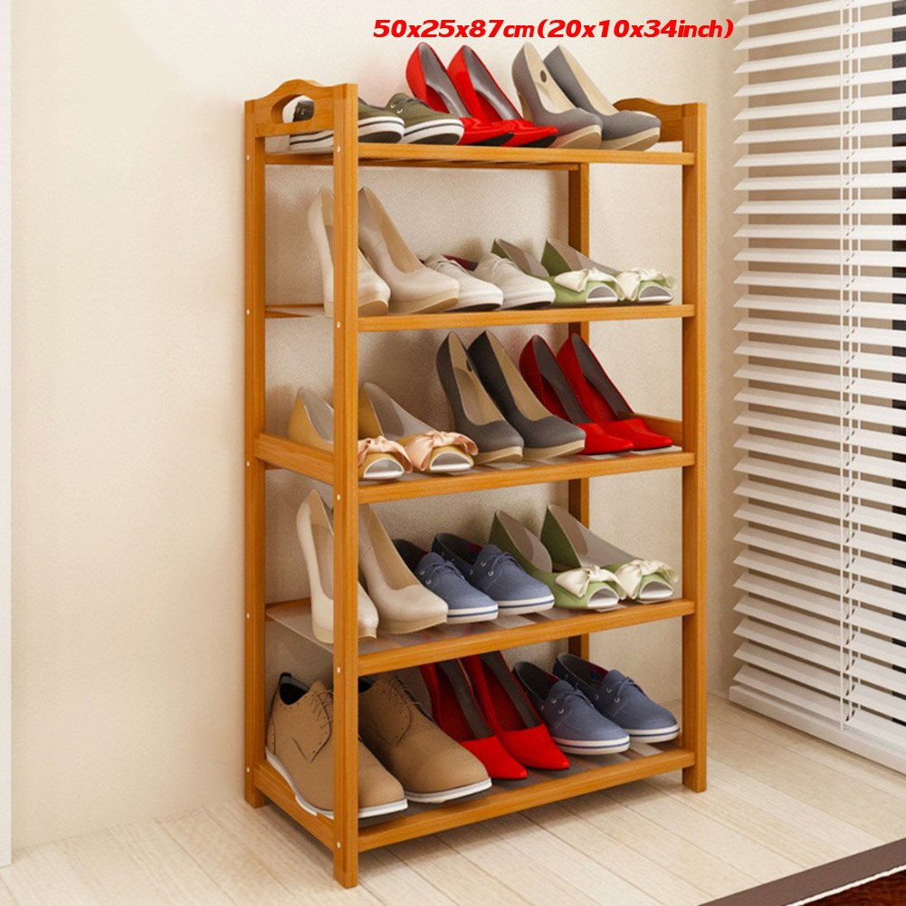 Bamboo shoe rack,100% solid wood ,Flower stand, Bookshelf,Function assemble,Entryway shelf Stand shelves Stackable Entryway bedroom-D 50x25x87cm(20x10x34inch) by franchise house (Image #2)