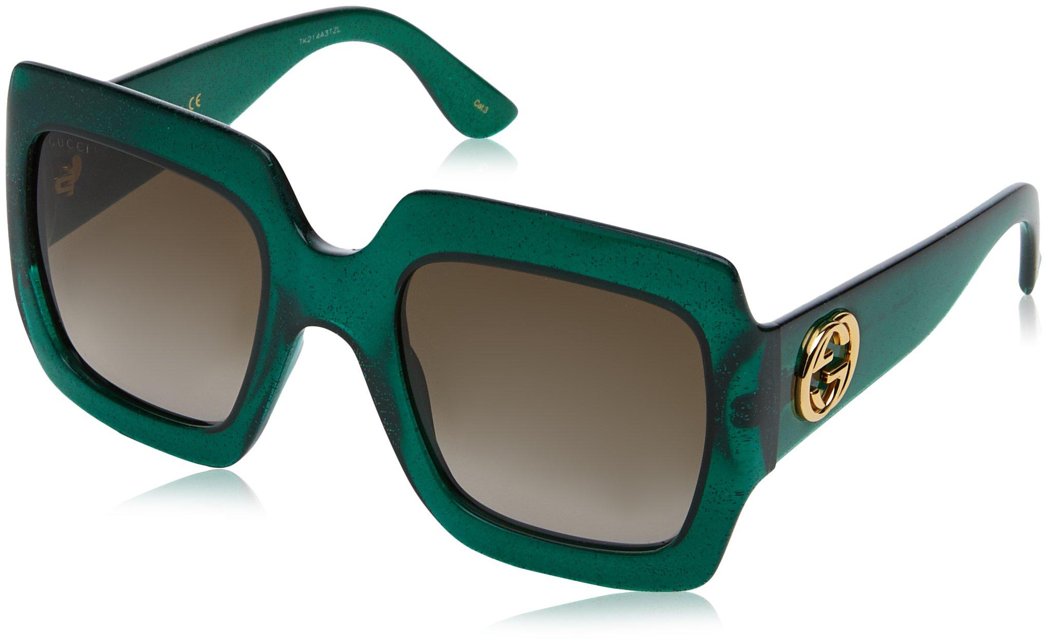 Gucci 0053 005 Green Brown Glitter GG0053S Sunglasses by Gucci