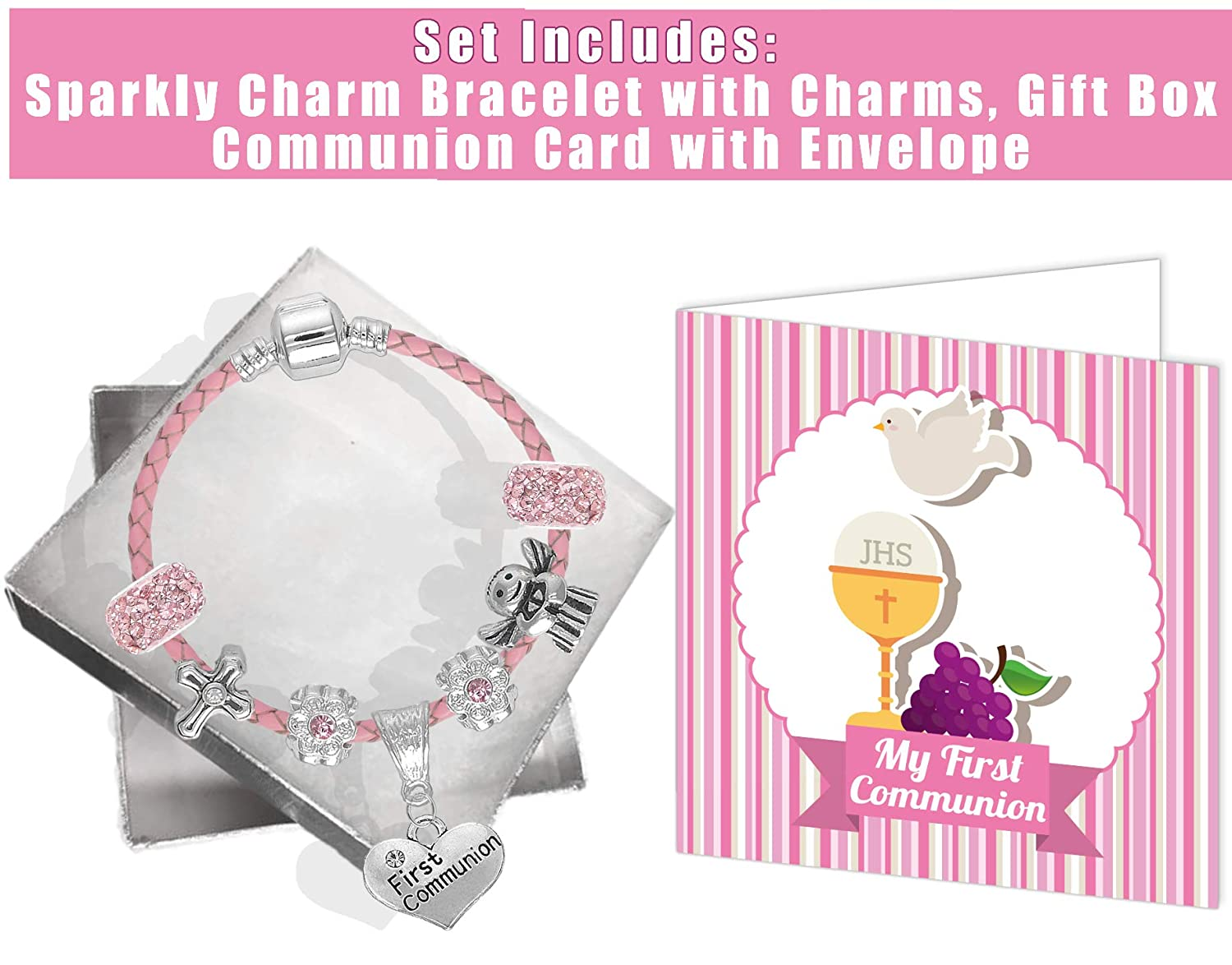First Holy Communion Leather Charm Bracelet and Card Communion Gifts for Girls