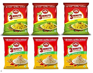 MTR 3 Mins Breakfast Vegetable Upma and Poha Combo pack 3 each 60 grams x 6 360 Ready to eat indian breakfast