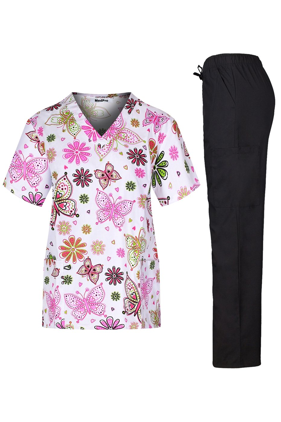MedPro Women's Medical Scrub Set with V Neck Top and Cargo Pants Light Pink Black S
