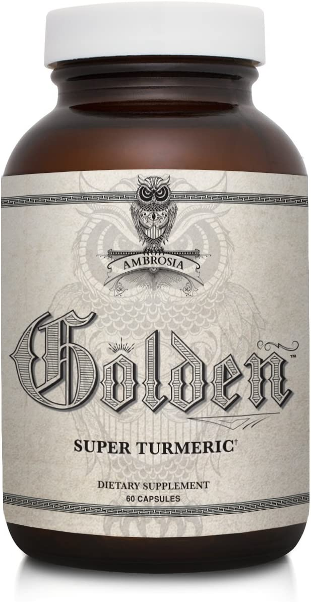 Ambrosia Golden Super Turmeric Bioavailable Curcumin Decrease Inflammation for Gut Brain Health Reduce Joint Discomfort 765mg of Active Curcuminoids 60 Veggie Capsules 30 Day Supply