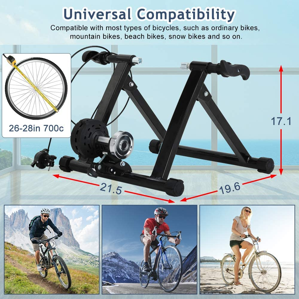 Folding Bike Trainer Indoor Bicycle Exercise Portable Magnetic Work Out 7 Levels