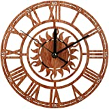 Spritumn Silent Wall Clock Wood Non Ticking Digital Quiet Sweep Decorative Vintage Wooden Clocks 9.1x9.1 for Home Kitchen Office