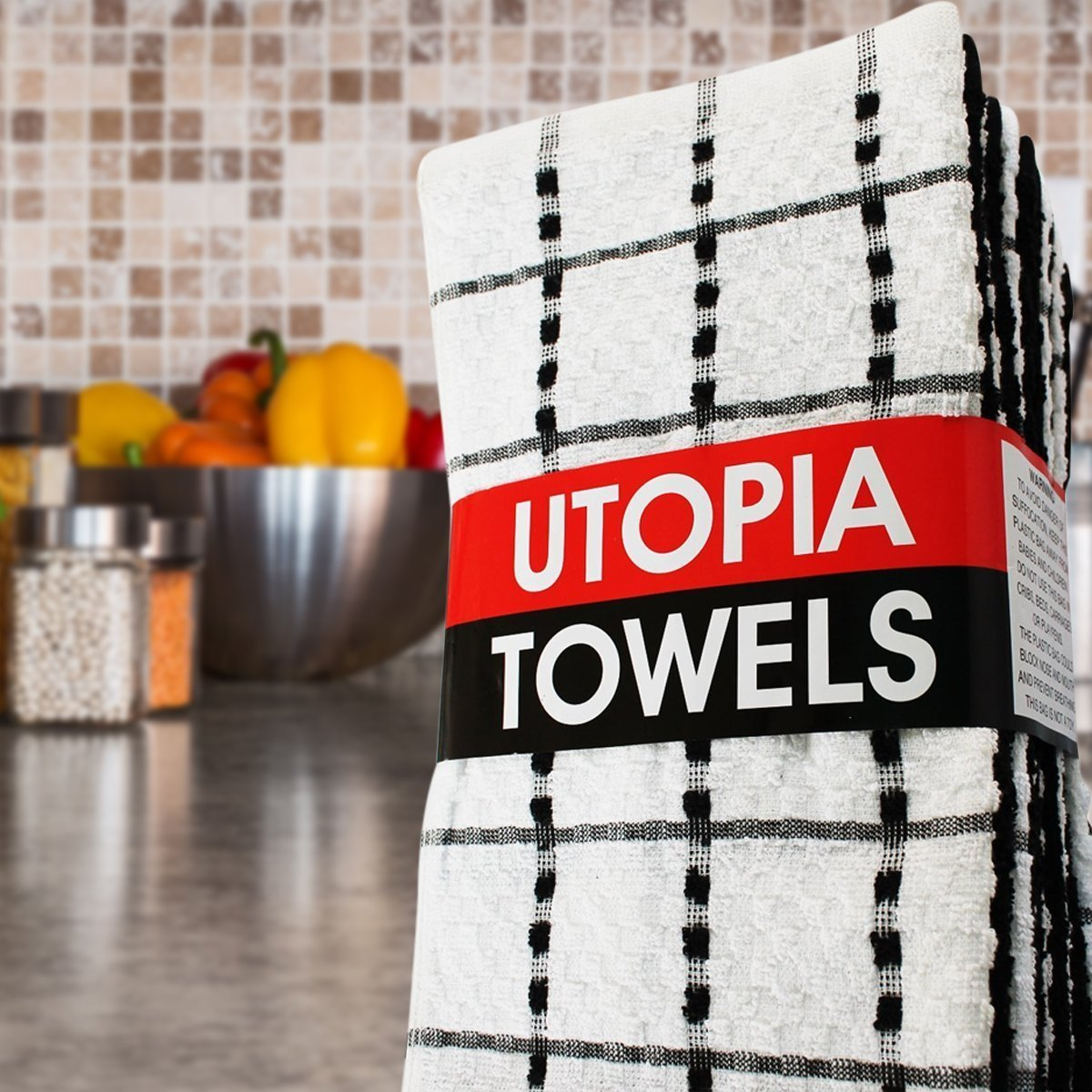 Black and White Size 15 x 25 Inches 12 Kitchen Towels by Utopia Towels 100/% cotton
