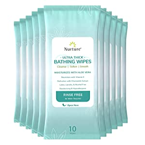 Ultra-Thick Rinse Free Bathing Wipes (12 pack) | 120 Extra Large and Thick Adult Wash Cloths Requiring No Rinse - Latex, Lanolin, and Alcohol Free - 12 Packs of 10 Cleansing Body Bath Wipes