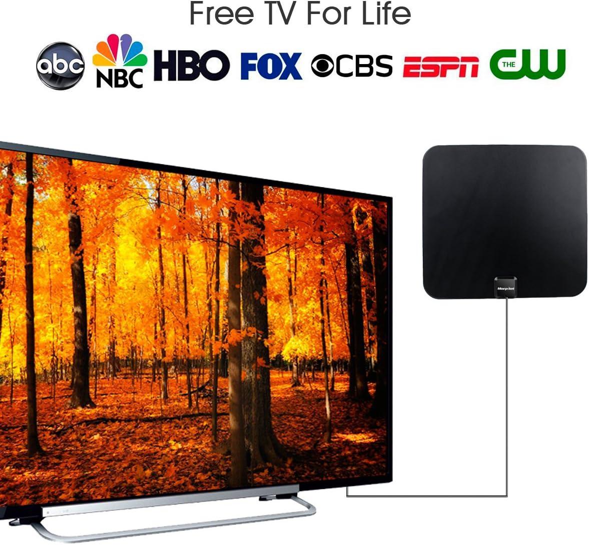 TV Antena Digital, Morpilot Antena de TV Interior de Rango Amplificado de 95 km (60 Millas) con Amplificador de Señal y Amplificador Avanzado y Cable Coaxial de 12 Pies: Amazon.es: Electrónica