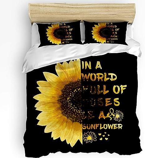 Duvet Cover Set Printed 3 Pcs Bedding Set Queen Size Include 1 Duvet Cover 2 Pillow Shams You My Sunshine Only Sunshion Sunflower Grey White Black Soft Comforter Quilt Cover Sets