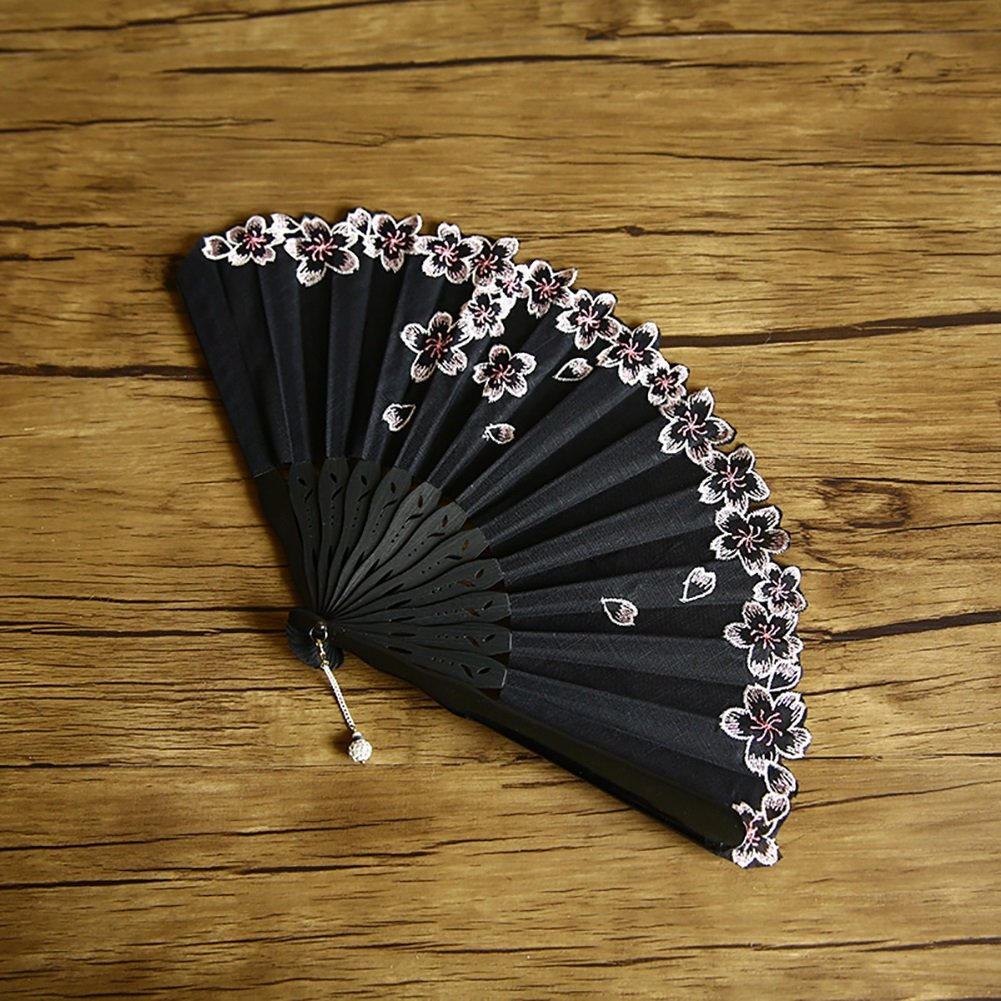 Embroidery Sakura Folding Fan Women Artistic Hand-held Fan Hand-made For Lovers/wedding Gift (Color : Black) by ZJM-folding fan