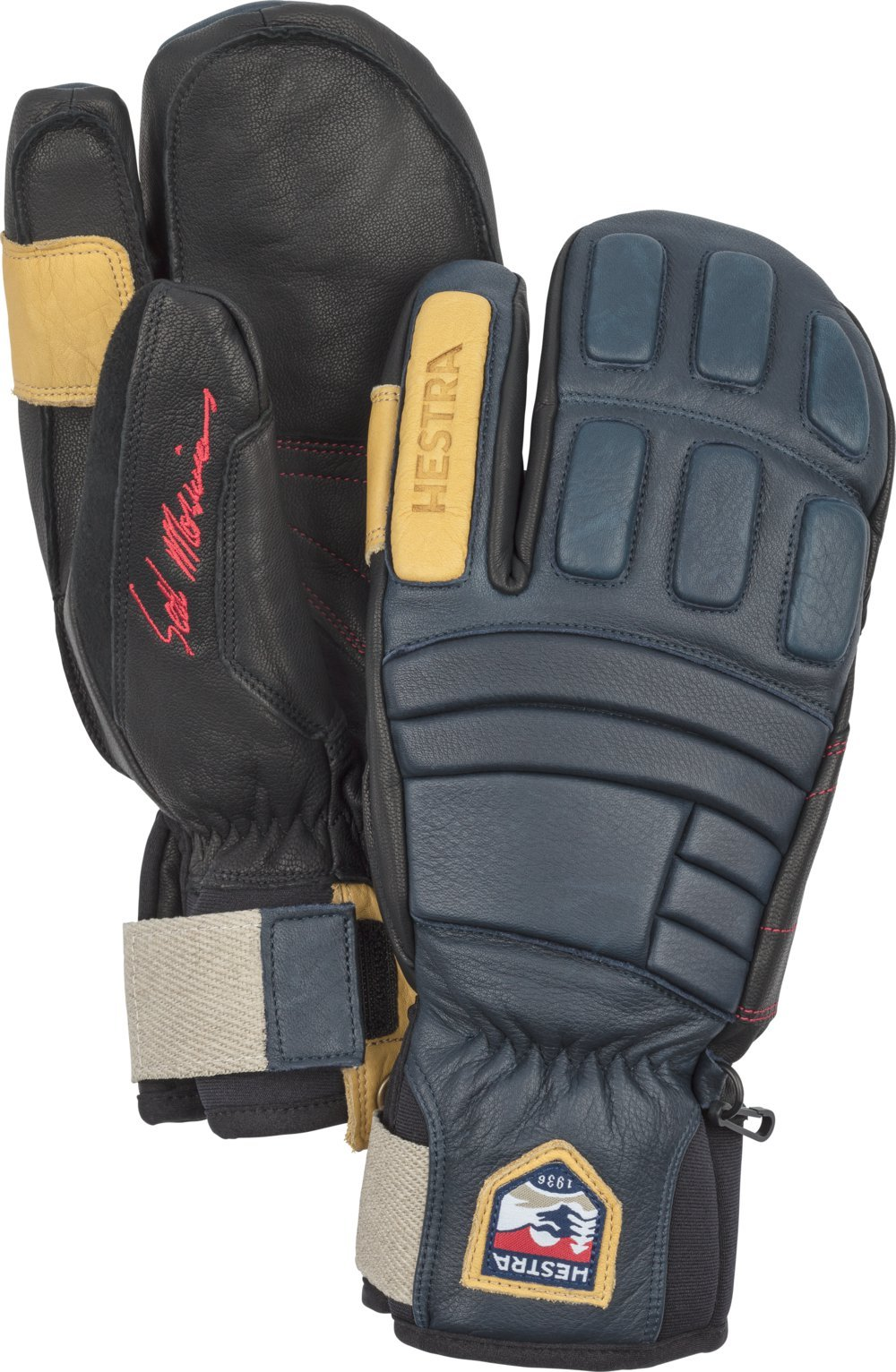 Hestra Waterproof Ski Gloves: Mens and Womens Pro Model Leather Winter 3-Finger Mitten