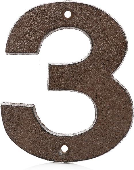 Image of Números para Casas de Hierro Fundido 0-9 (3, Marrón)