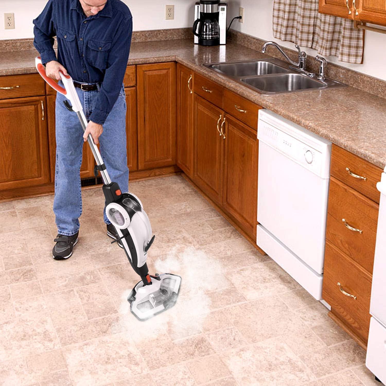 TACKLIFE Mopa de Limpieza a Vapor, 1400W 2 en 1 Limpiador de Vapor de Mano y Vapor de Piso Multifunción, Rotación de 180°, Paño de Microfibras, Calentamiento en 5s, Accesorios 11 para