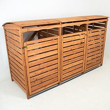 Mulltonnenbox Mit Ruckwand Holz Fur 3 Mulltonnen 240l Mullcontainer