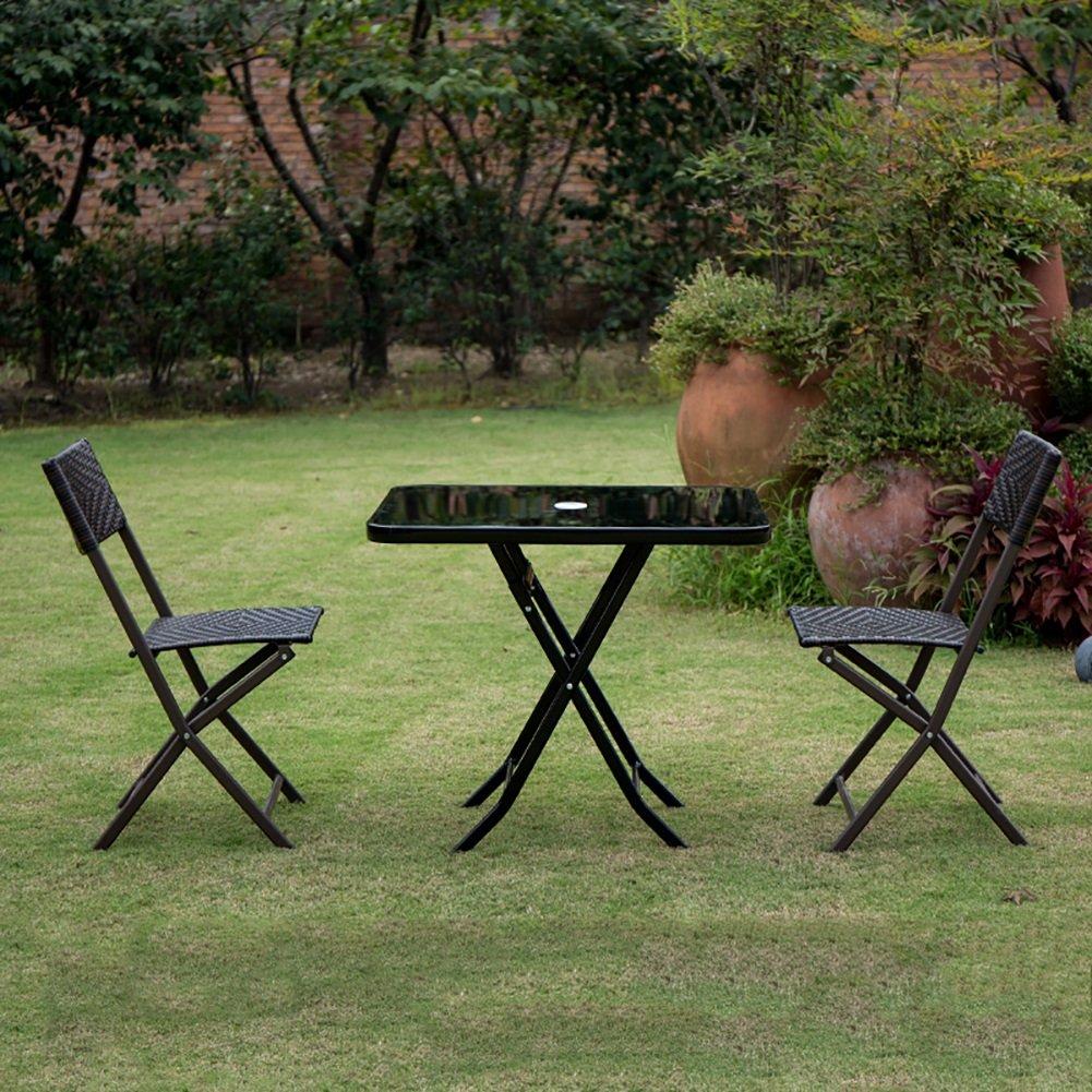 YXX- ポータブルラウンド折りたたみテーブルと椅子傘穴屋外キャンプガーデンブラックラウンド折り畳みダイニング&コーヒー&ティーデスク (色 : Square table+2 Chairs) B07DVYTMLR  Square table+2 Chairs