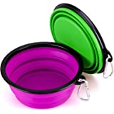 Collapsible Silicone Pet Bowl, IDEGG Food Grade Silicone, BPA Free, Foldable Expandable Cup Dish for Pet Dog/Cat Food Water Feeding Portable Travel Bowl