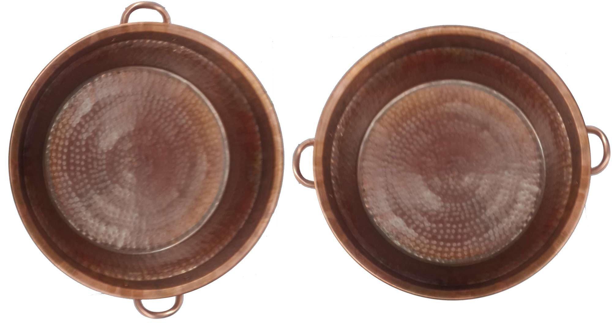 Egypt gift shops Pair Large Fire Burnt Massage Bath Buckets Handles Pedicure Spa Styling Salon Bowls 14'' Bottom by Egypt Gift Shops
