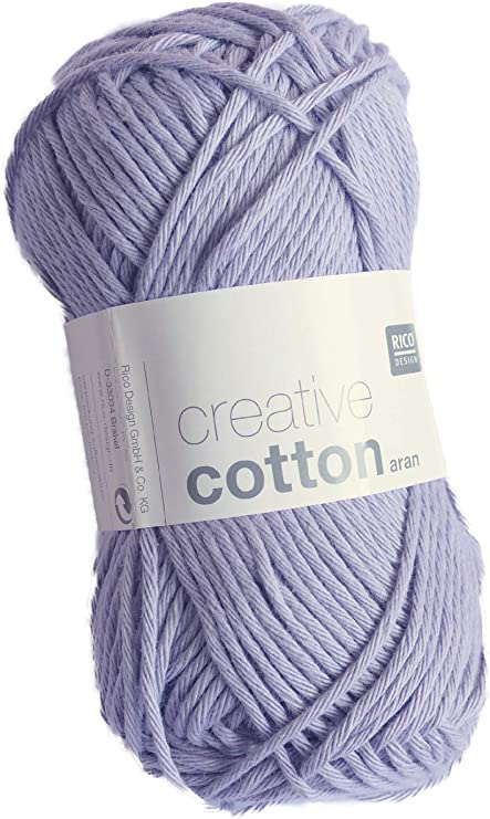 Rico Creative Cotton Aran FB. 09 Lila Pastel, Hilo de algodón para Punto y Ganchillo, Lana de Ganchillo.: Amazon.es: Hogar