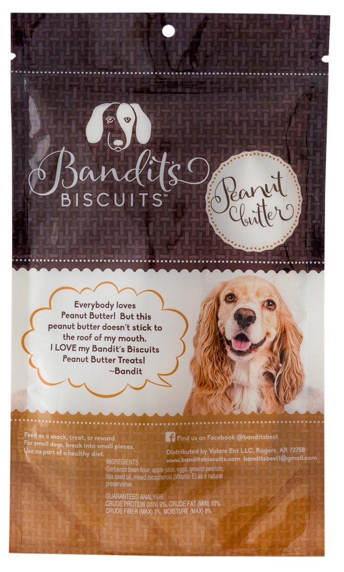 Bandit's Biscuits All Natural Healthy Grain Free Peanut Butter Dog Treats 10oz Large Dog Treats Made in the USA by Bandit's Biscuits