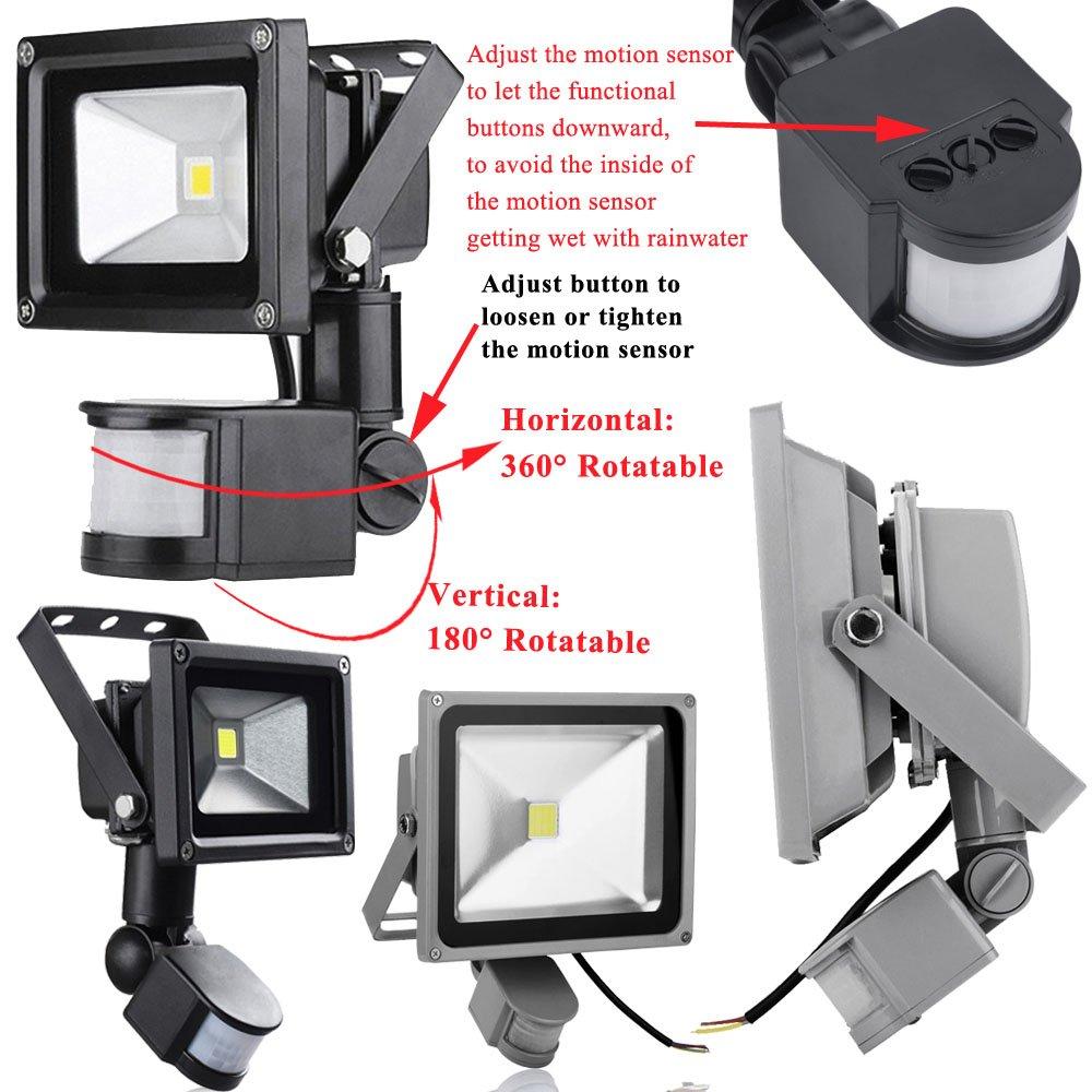 Yunt 20W SMD LED Strahler Fluter IP65 Flutlicht Leuchtmittel Scheinwerfer kaltwei/ß Wandstrahler Au/ßenstahler Leuchtmittel mit PIR Bewegungsmelder