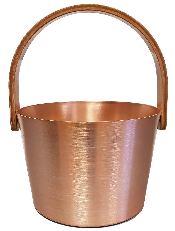 gold-ros/é mit B/ügelgriff aus Bambus Aufgusseimer 5,0 l aus Aluminium SudoreWell/® Sauna