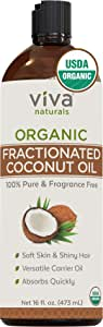 Viva Naturals Organic Fractionated Coconut Oil - Amazing Massage Oil & Carrier Oil for Essential Oils - Face Moisturizer & Body Oil, Non Greasy, 16 oz