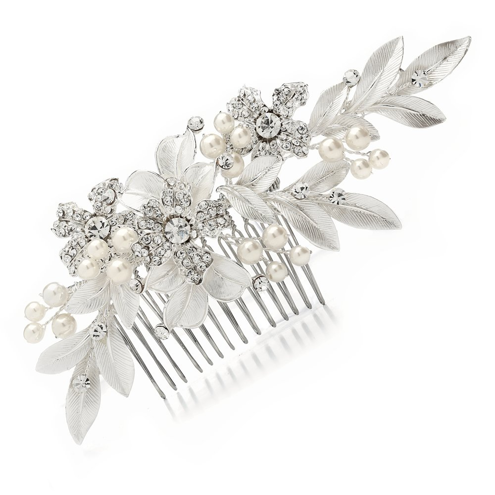 Mariell Couture Bridal Hair Comb with Hand Painted Leaves, Pave Crystal & Pearls