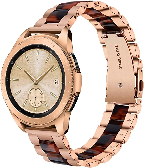 V-MORO Compatible Galaxy Watch 42mm Band Women,20mm Rose Gold Stainless Steel Strap with Tortoise Resin Bracelet Replacement Samsung Galaxy Watch 42mm ...