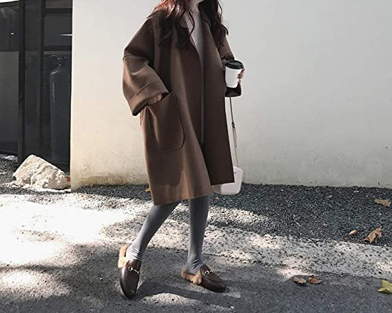 Amazon.com: Womens Loose Oversized Coat Black Coffee Long-Sleeved Casual Woolen Coat with Pocket: Clothing