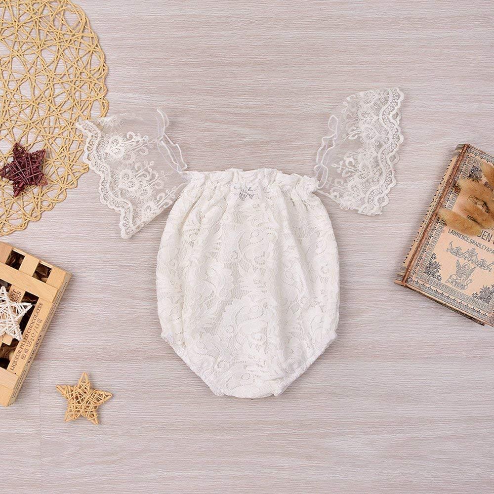 GRNSHTS Infant Baby Girls White Hollow Ruffles Sleeve Lace Romper Sunsuit Bodysuit