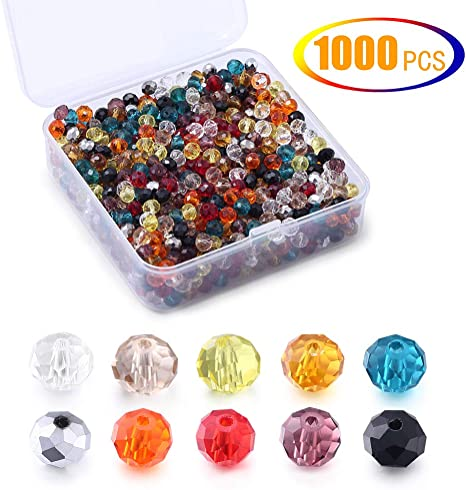 free ship 1000pcs silver rondelle Faceted glass crystal loose Spacer bead 6mm
