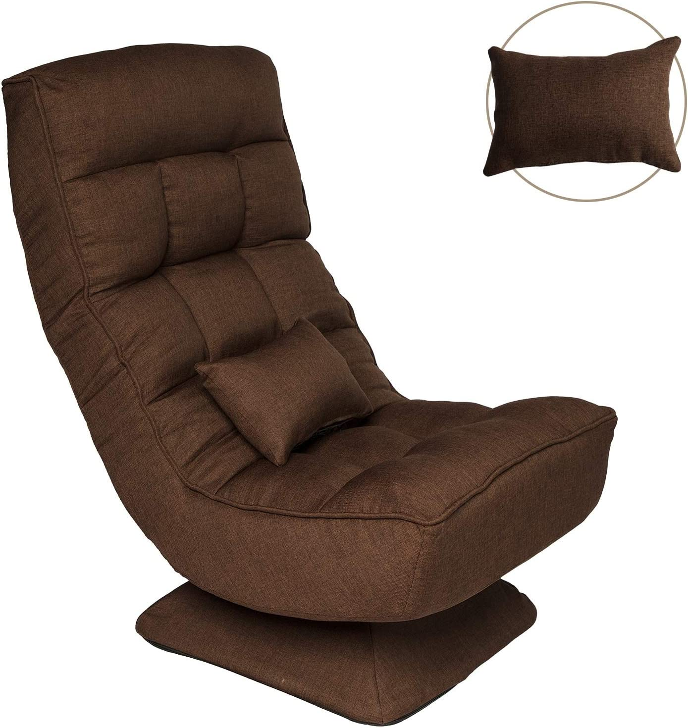 Folding Floor Gaming Chair For Home Office W Pillow 360 Degree Swivel Adjustable Video Game Chair Brown Kitchen Dining