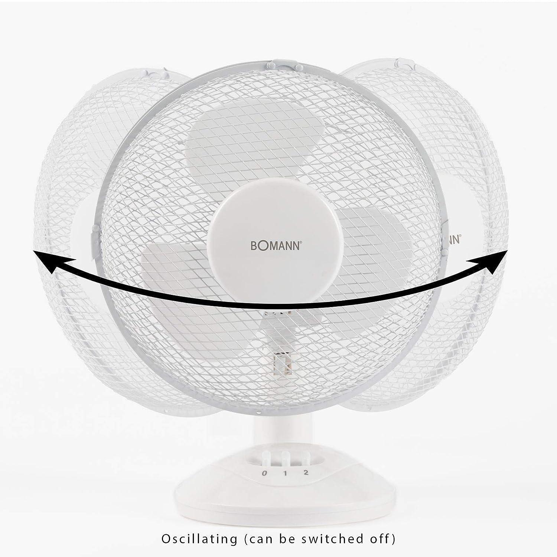 Tischventilator 23 cm Wei/ß 3 Stufen Ventilator Oszillierend Windmaschine, 30 Watt, Tragegriff, H/öhe 38 cm