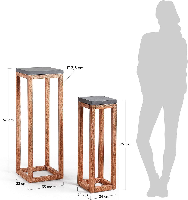 Kave Home Set de 2 mesas auxiliares Level cuadradas 33 x 33/24 x 24 cm de Cemento con Estructura de Madera Maciza de Acacia para Interior y Exterior
