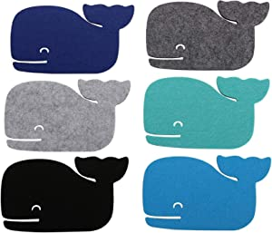CoolZest Beach Coasters for Drinks Absorbent, Coaster Set of 6, Cute Whale Felt Coasters for Nautical Ocean Coastal Beach Themed for Home Kitchen Room Table Decor