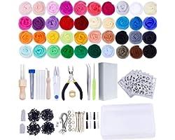 Needle Felting Kit,Wool Roving 40 Colors Set,Needle Felting Starter Kit,Wool Felt Tools with Felting Tool Instruction Include