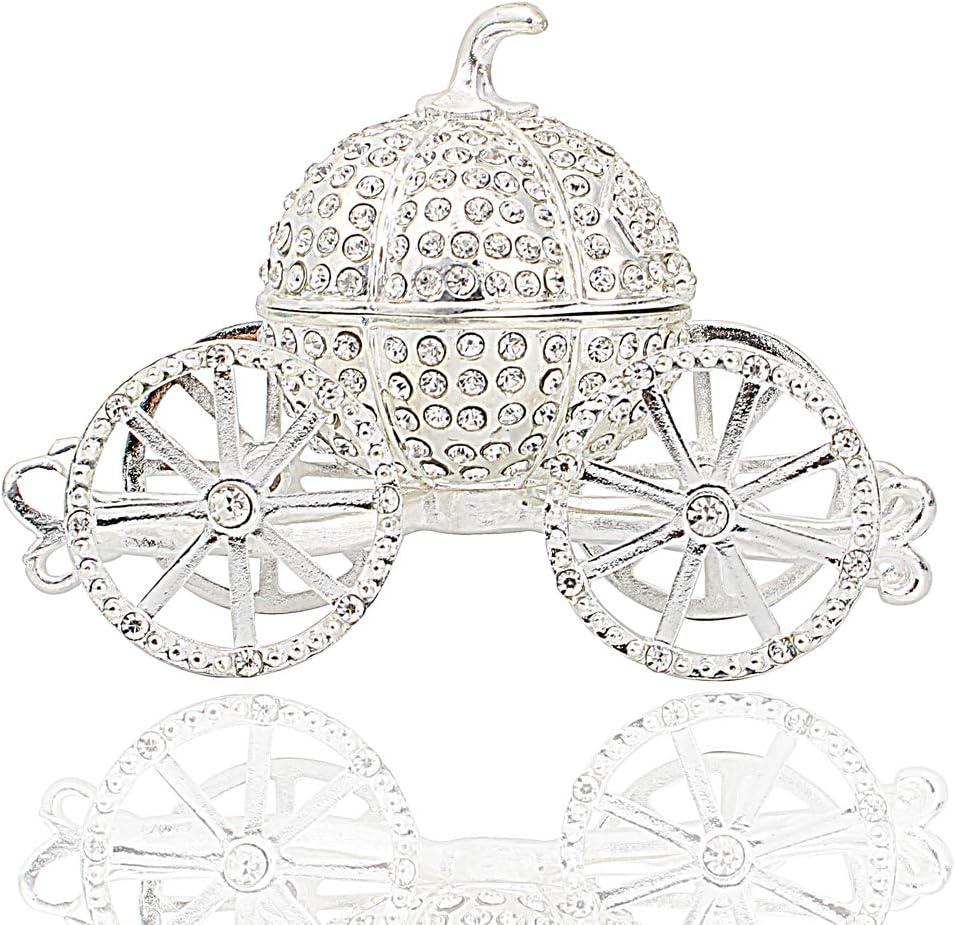 Hophen Pumpkin Carriage Decorative Rhinestones Hinged Jewelry Trinket Box Figurine Collectible Ornament (Silver)