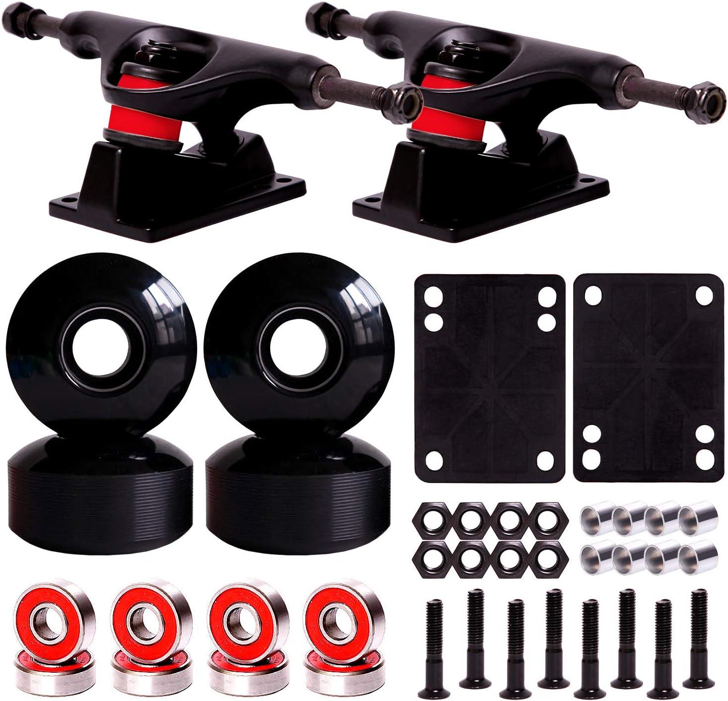 LOSENKA Skateboard Wheels Set,Include Skateboard Trucks Skateboard Wheels 52mm Skateboard Bearings Skateboard Pads Skateboard Hardware 1