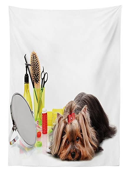 Amazon Com Dog Lover Decor Tablecloth Yorkshire Terrier With