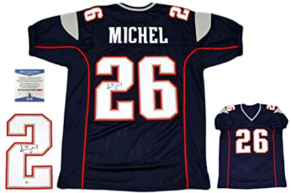 fa673a838ea Sony Michel Autographed Signed Jersey - Beckett Authentic - Navy at ...